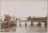View of Mantes-la-Jolie with the old bridge over the Seine