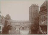 View of the Henkersteg bridge between the water tower (right) and the Henker tower (left) in Nuremberg