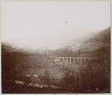 Mountain view with a viaduct at the Plomb du Cantal