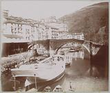 View of a city with bridge, harbor and ships, possibly in French or Spanish Basque Country