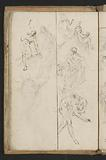 Putti, a woman in a toga and men in various bending and standing positions