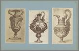 Three photo reproductions of drawings of vases