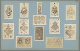 Thirteen photo reproductions of ornament prints
