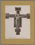 Photo reproduction of a painting (presumably) by Cimabue, depicting Christ on the cross between Mary and John