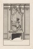 Ornamented fireplace with flower basket