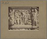 Detail of the pulpit of the Saint Andrew's church at Pistoia by Giovanni Pisano, depicting the worship of Christ and …