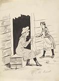 Knitting girl and a maid at an open door