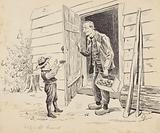 Man with potato box in front of an open door
