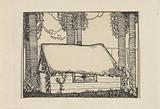 Barn or thatched hut among the trees