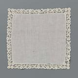 Batiste handkerchief all around finished with bobbin lace with rosette flowers on a short stem and flowers with three …