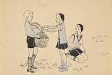 Three kids picking acorns