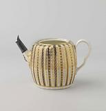 Teapot, the ribs alternating blue and white, separated by gold piping
