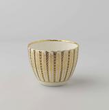 Sugar bowl, the ribs alternating blue and white, separated by gold piping