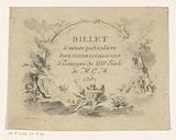 Admission ticket to an exhibition of eighteenth-century prints