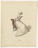 Reading woman on a chair in her morning dress