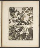 Decorative groups with hazel branches, squirrels, palm leaves and an orangutan
