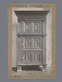 Oak cabinet decorated with pilasters, chain ornaments and acanthus leaf in the Rijksmuseum in Amsterdam
