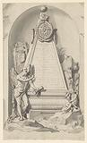 Funerary monument with obelisk and Father Time