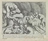 Odysseus escapes from the cave of Polyphemus
