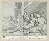 Odysseus and Telemachus in Eumaeus' hut