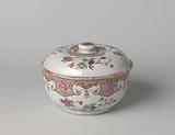 Covered tureen with groups of flowers and ornamental border