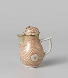 Pear-shaped milk jug with stylized flowers on a feather or scale ground and scrolls