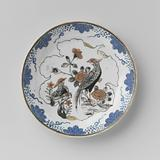 Saucer with two pheasants on a rock in a leaf-shaped panel