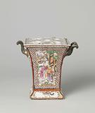 Square bough pot with figures on a terrace, birds and flower sprays