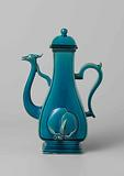 Pear-shaped wine ewer with peach and spout ending in a bird's head