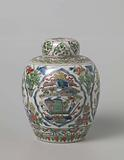 Covered, ovoid jar with antiquities and flower sprays