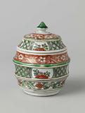 Barrel-shaped covered jar with flower scrolls and geometric patterns