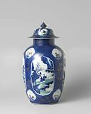 Ovoid jar and domed cover with bleu poudré and panels in reserve with landscapes and antiquities