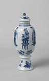 Ovoid covered vase with Chinese ladies, flower sprays and vases