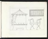 Four-poster bed, ornamental border and bench