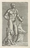 Sculpture of Adonis with hunting dog and wild boar head