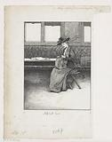 Woman with bag on a stool
