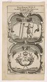 Roman warrior supports two columns / Crowned monogram CC with two cornucopia
