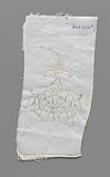 Pricking strung on a double piece of cotton and with tracing threads and needle edge stitches to make part of a needle …