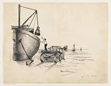 Discharging ship on a beach