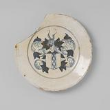 Earthenware plate, fully covered with white tin glaze and decorated in blue with the coat of arms of Amsterdam, damaged