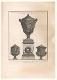 Three antique vases, one on a pedestal