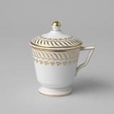 Covered cup (pot de crème) with stylized floral scrolls