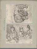 Two photo reproductions of drawings, depicting a portrait of five actors playing in a train compartment and a portrait …