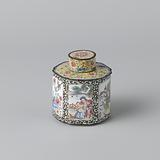 Hexagonal tea caddy lid, painted enamel