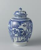 Ovoid covered jar with figures in a landscape and panels with dragons