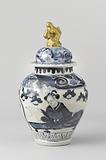 Ovoid covered jar with a lady reading a letter and finial in the shape of a shishi