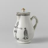 Pear-shaped milk jug with a crucifixion scene