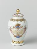 Ovoid tea caddy with handle from the 'Swellengrebel service' with a double crowned monogram and a border with floral …