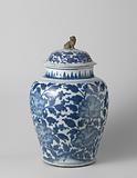 Ovoid covered jar with large peonies