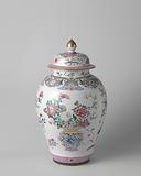 Ovoid covered jar with flower baskets and auspicious symbols